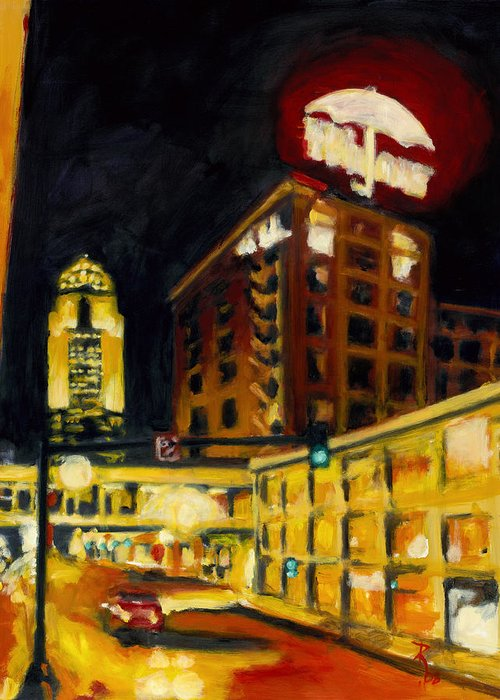 Rob Reeves Greeting Card featuring the painting Untitled In Red And Gold by Robert Reeves