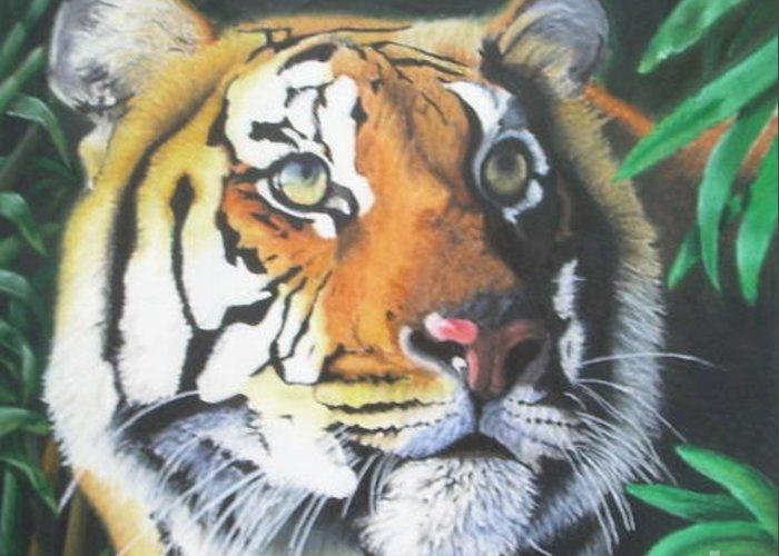 Sumatran Tiger Greeting Card featuring the pastel Untitled by John Huntsman