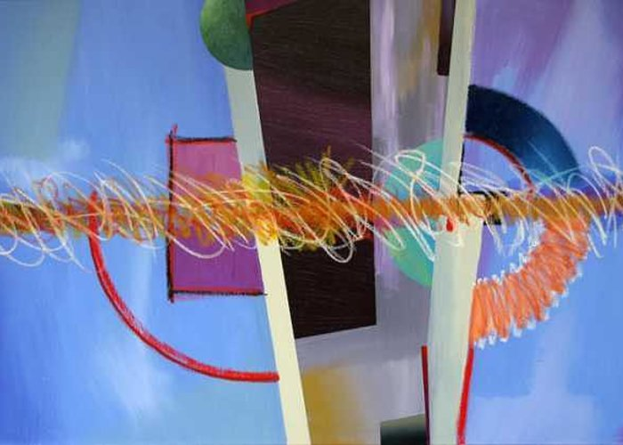 Abstract Greeting Card featuring the painting Untitled by Marston A Jaquis