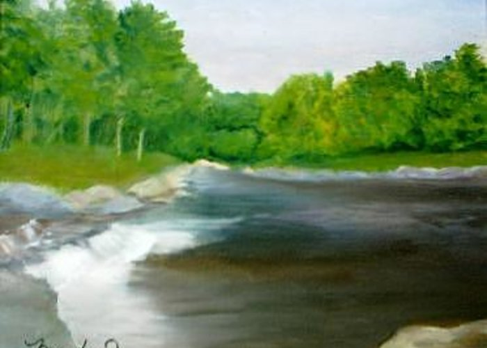 River Greeting Card featuring the painting Untitled Plein Aire by Sheila Mashaw
