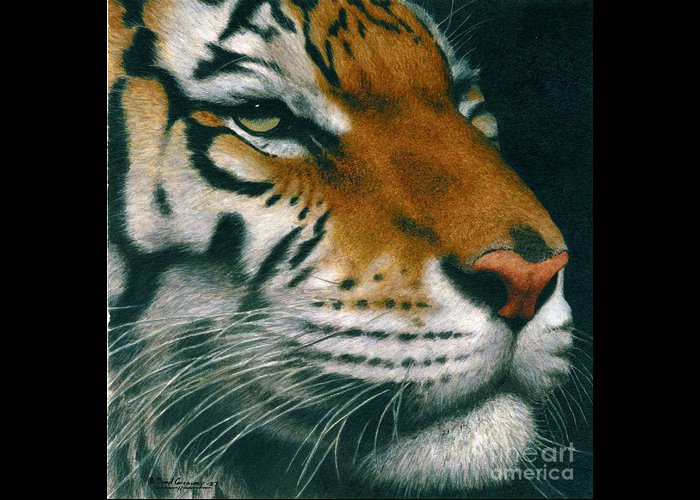 Tiger Greeting Card featuring the painting Untitled Tiger by Brad Carraway