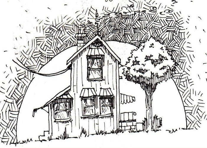 House Greeting Card featuring the drawing Untitled by Tobey Anderson