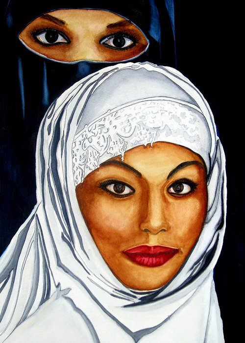 Veil Greeting Card featuring the painting Unveiled by Emmanuel Turner