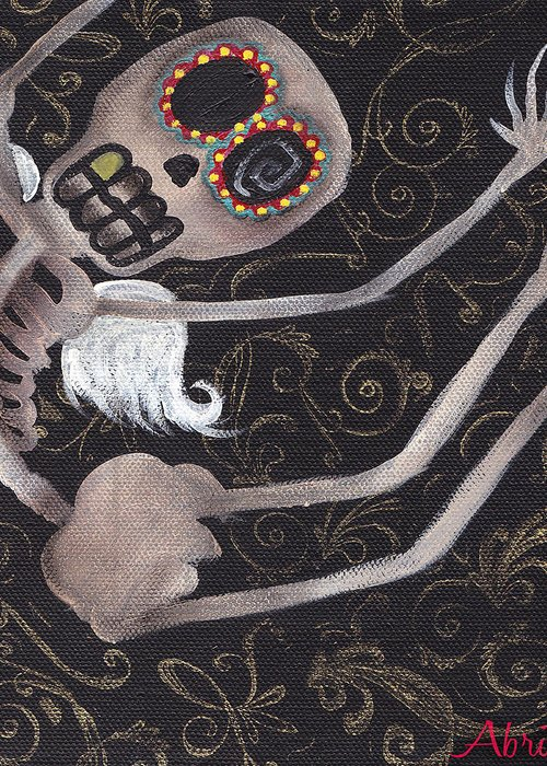 Day Of The Dead Greeting Card featuring the painting Up by Abril Andrade Griffith