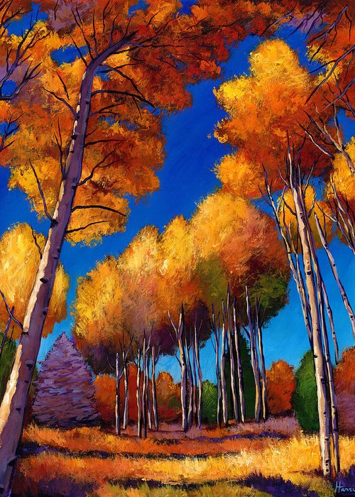 Autumn Aspen Greeting Card featuring the painting Up And Away by Johnathan Harris