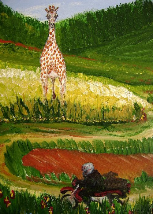 Giraffe Greeting Card featuring the painting Up Around The Bend by Laura Johnson