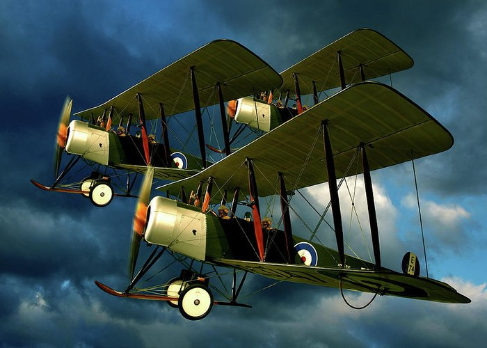 Bi Planes Greeting Card featuring the photograph Up In The Air by Steven Agius