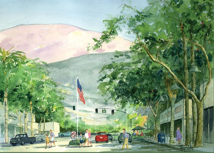 Main Street Greeting Card featuring the painting Up Linden Avenue by Ray Cole
