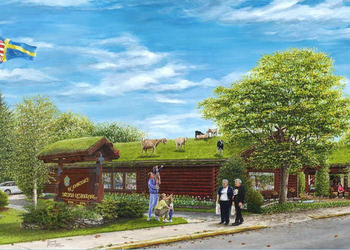 Log Building Greeting Card featuring the painting Up On The Roof by Doug Kreuger