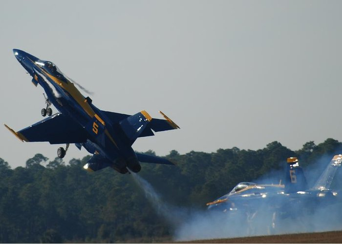 Blue Angels Greeting Card featuring the photograph up by Renee Holder