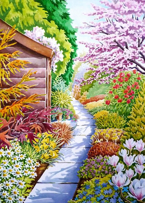 Path Shed Spring Blossom Magnolia Daisies Tree Shadow Daffodils Fir Tree Pine Tree Wood Acer Greeting Card featuring the painting Up The Garden Path by Debbie Diamond