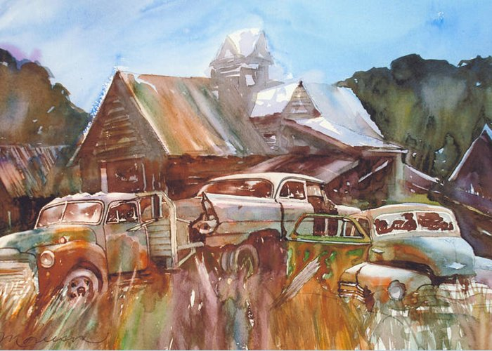 Chev Plymouth House Barn Greeting Card featuring the painting Up the Road a Bit by Ron Morrison