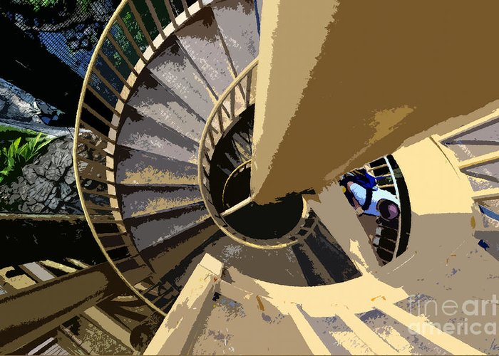Spiral Staircase Greeting Card featuring the painting Up The Spiral Staircase by David Lee Thompson