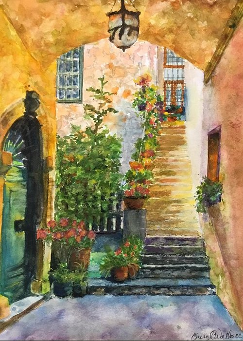 Stone Greeting Card featuring the painting Up The Stone Staircase by Cheryl Wallace