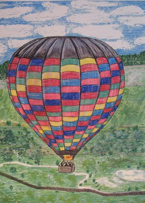 Balloon Ride Greeting Card featuring the painting Up Up And Away by Kathy Marrs Chandler