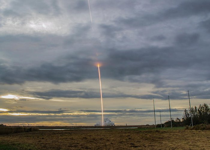 Rocket Launch Antares Orbital Atk Wallops Island Virginia Greeting Card featuring the photograph Up Up And Away by Steve Hammer