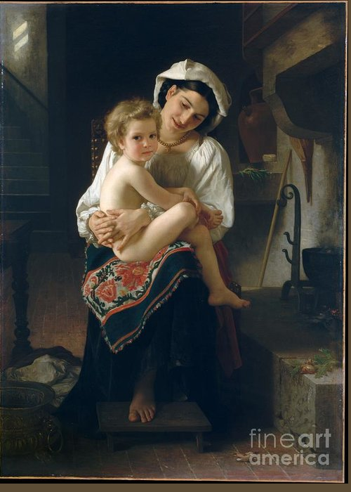William Bouguereau Greeting Card featuring the painting Up You Go 1871 by William Bouguereau