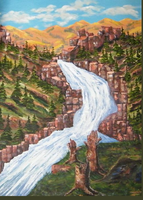Greeting Card featuring the painting Upatream by Larry Doyle