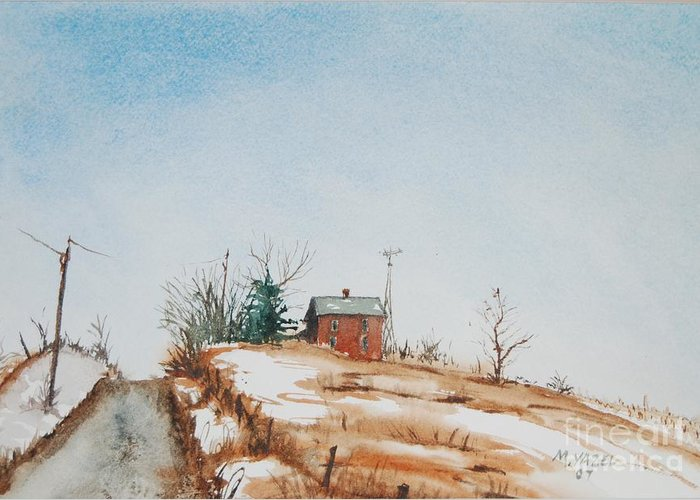 Landscape Greeting Card featuring the painting Uphill by Mike Yazel