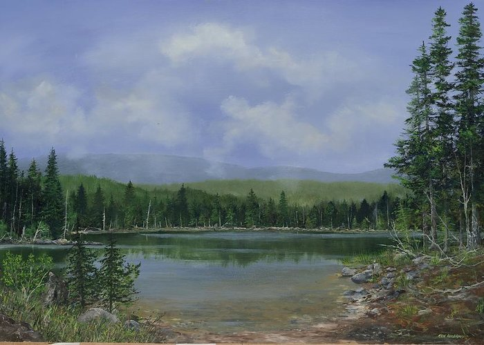 Lake Greeting Card featuring the painting Upland Lake by Ken Ahlering