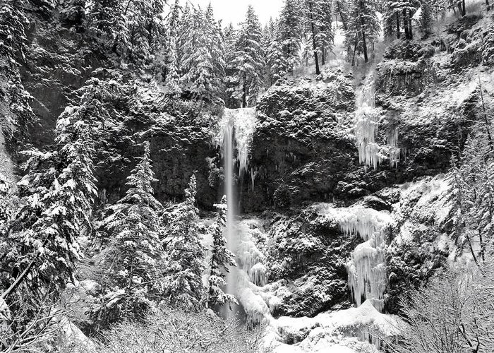 Upper Falls In Snow's Cover Greeting Card featuring the photograph Upper Falls In Snow's Cover by Wes and Dotty Weber
