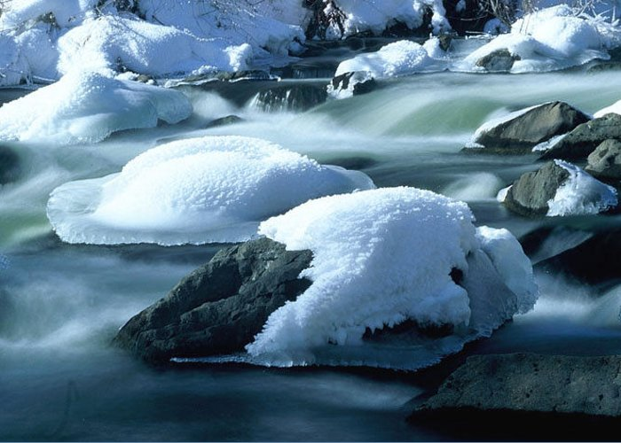 Upper Provo River Greeting Card featuring the photograph Upper Provo River In Winter by Dennis Hammer