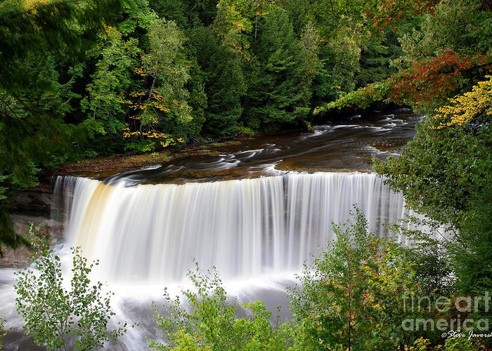 Michigan Upper Peninsula Greeting Card featuring the photograph Upper Tahquamenon Falls by Steve Javorsky