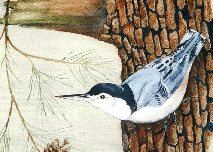 Nuthatch Greeting Card featuring the painting Upside Down by Debra Sandstrom