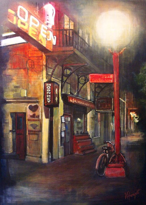 Chinatown Greeting Card featuring the painting Upstairs At Mrs. Woos by Victoria Heryet