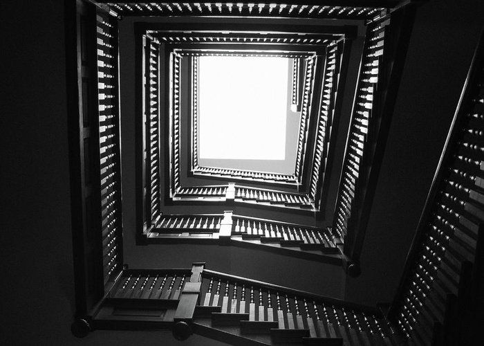 Stairs Greeting Card featuring the photograph Upstairs- Black And White Photography By Linda Woods by Linda Woods