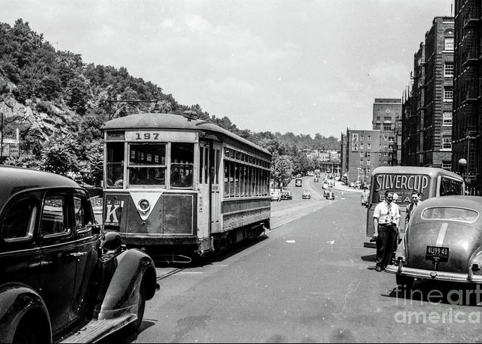 1940's Greeting Card featuring the photograph Uptown Trolley Near 193rd Street by Cole Thompson