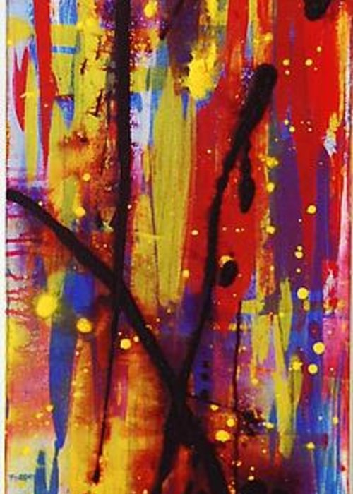 Abstract Greeting Card featuring the painting Urban Carnival by Lauren Luna