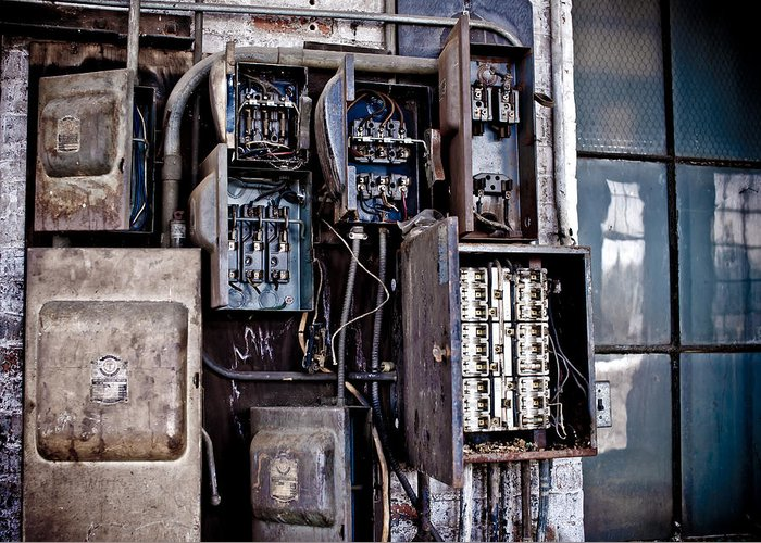 Art Greeting Card featuring the photograph Urban Decay Fuse Box by Edward Myers