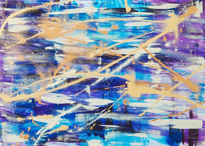 Abstract Greeting Card featuring the painting Urban Footprint by Lauren Luna