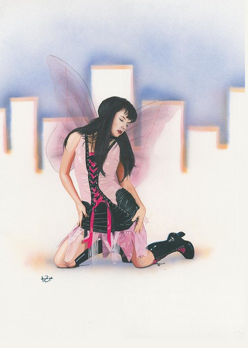 Fantasy Greeting Card featuring the painting Urban Pixie by Kevin Clark