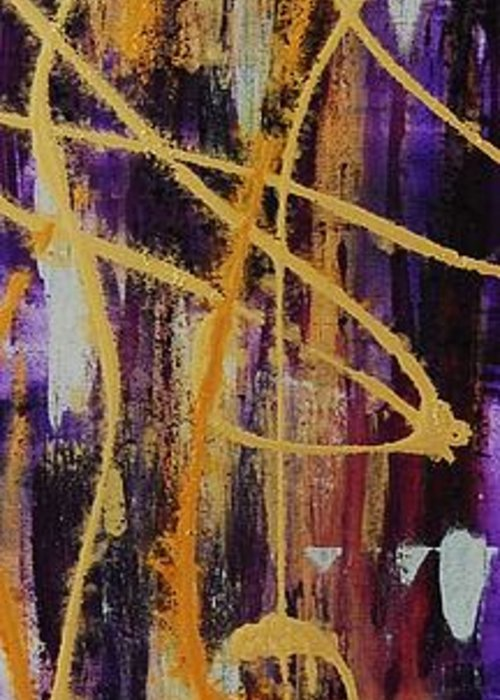 Abstract Greeting Card featuring the painting Urban Royality by Lauren Luna