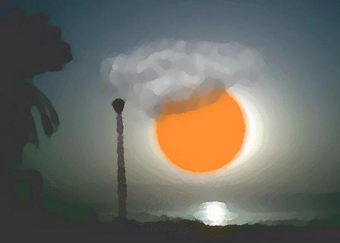 Urban.sea.sunset.sky.sun.water Sun Reflection.coast. Greeting Card featuring the digital art Urban Sea Sunset by Dr Loifer Vladimir