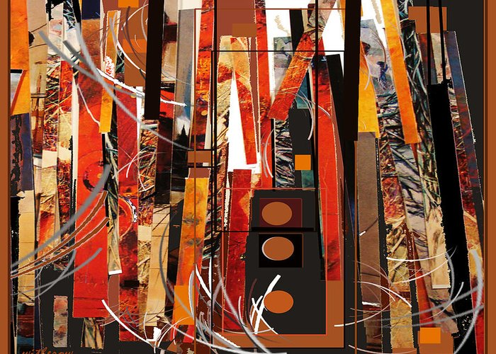 Abstract Greeting Card featuring the painting Urban Structures II by Dale Witherow