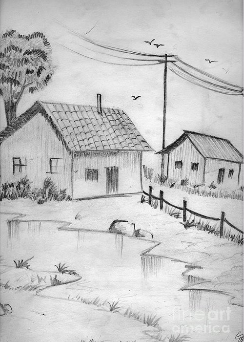 Pencil Drawing Greeting Card featuring the painting Urbanisation Of Villages - Gaon Chale Shahr Ki Oar by Tanmay Singh
