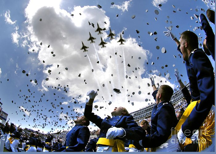 Academy Greeting Card featuring the photograph U.s. Air Force Academy Graduates Throw by Stocktrek Images