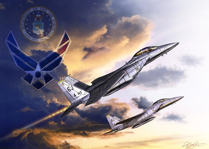 F-15 Greeting Card featuring the digital art Us Air Force by Kurt Miller