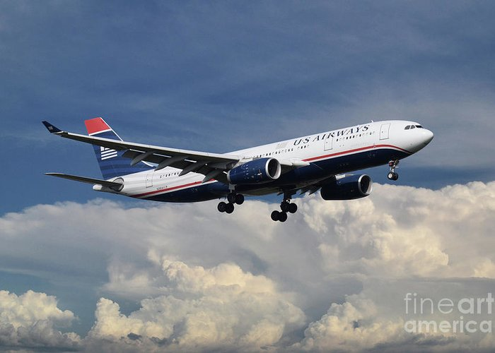 A330 Greeting Card featuring the digital art Us Airways A330-200 N280ay by J Biggadike