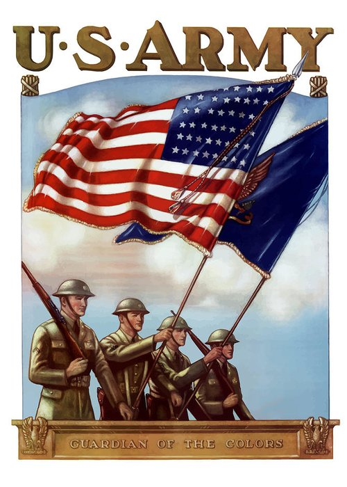 Us Army Greeting Card featuring the painting Us Army -- Guardian Of The Colors by War Is Hell Store