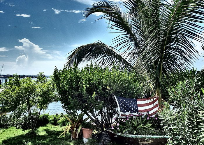 Amerian Flag Greeting Card featuring the photograph US Flag in the Abaco Islands, Bahamas by Cindy Ross
