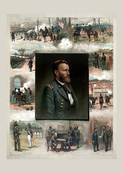 President Grant Greeting Card featuring the painting Us Grant's Career In Pictures by War Is Hell Store