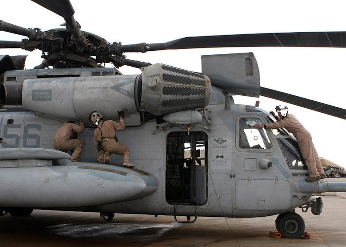 Adults Only Greeting Card featuring the photograph U.s. Marines Perform Preflight Checks by Stocktrek Images