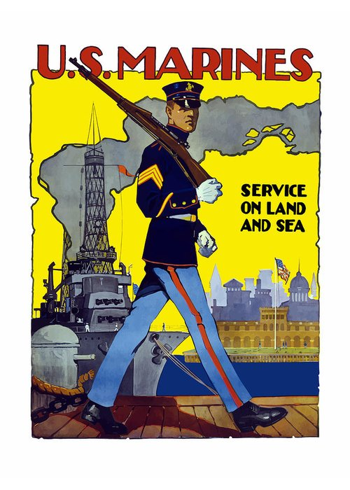 Marines Greeting Card featuring the painting U.S. Marines - Service On Land And Sea by War Is Hell Store