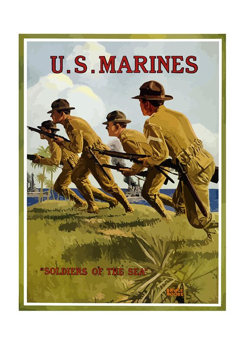 Marines Greeting Card featuring the painting US Marines - Soldiers Of The Sea by War Is Hell Store