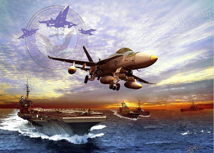 F-18 Mixed Media Greeting Cards
