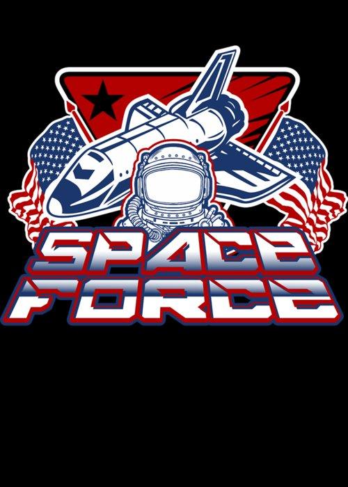 Space-force Greeting Card featuring the digital art Us Space Force Art Spaceship Us Flag Astronaut Dark by Nikita Goel